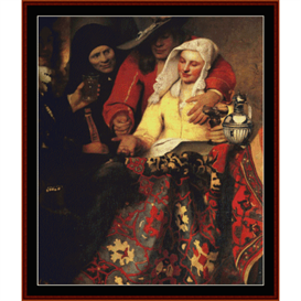 the procuress, detail - vermeer cross stitch pattern by cross stitch collectibles