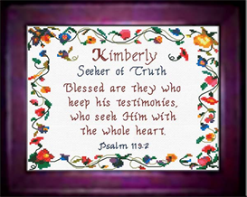 Name Blessings - Kimberly - Chart | Crafting | Cross-Stitch | Religious