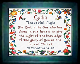name blessings - lydia - chart