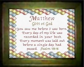 name blessings - matthew - chart