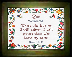 Name Blessings - Zoe - Chart | Crafting | Cross-Stitch | Religious