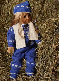 dollknittingpatterns - 0067d maren - jacket with a hood, pant, cap, scarf, gloves and shoes