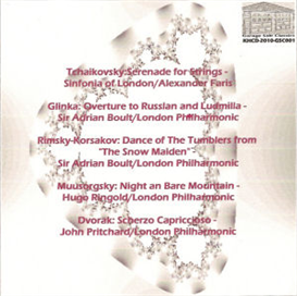 """Tchaikovsky: Serenade for Strings, Op. 48; Glinka: Overture to """"Ruslan and Ludmilla""""; Rimsky-Korsakov: Dance of the Tumblers from """"The Snow Maiden""""; Mussorgsky: Night on Bare Mountain;  Dvorak: Scherzo 