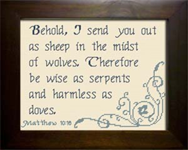 As Sheep - Matthew 10:16 | Crafting | Cross-Stitch | Religious
