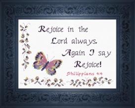 Rejoice - Philippians 4:4 | Crafting | Cross-Stitch | Religious