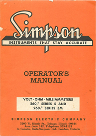 simpson volt-ohm-milliammeters meter 260 series 5 and 5m
