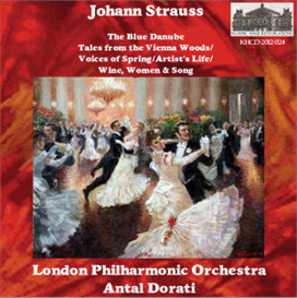 johann strauss: the blue danube, op. 314; tales from the vienna woods, op. 325; voices of spring, op. 410; artist's life, op. 316; wine, women and song, op. 333 - london philharmonic orchestra/antal dorati