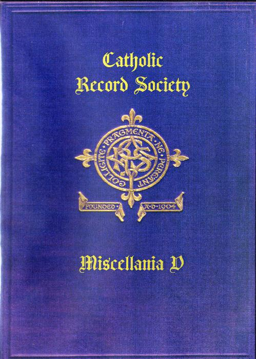 First Additional product image for - The Catholic Record Society Miscellanea V