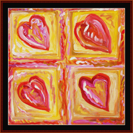 four hearts - dan scharf cross stitch pattern by cross stitch collectibles