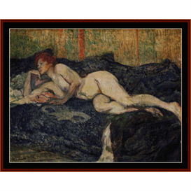 reclining nude -  lautrec cross stitch pattern by cross stitch collectibles