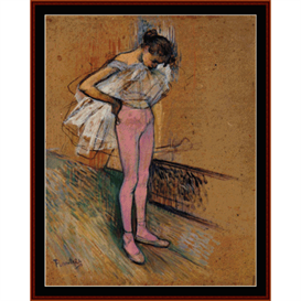 dancer adjusting her tights - lautrec cross stitch pattern by cross stitch collectibles