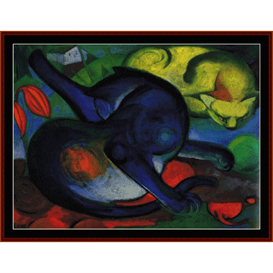 two cats blue and yellow - franz marc fine art cross stitch pattern