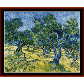 olive grove - van gogh cross stitch pattern by cross stitch collectibles